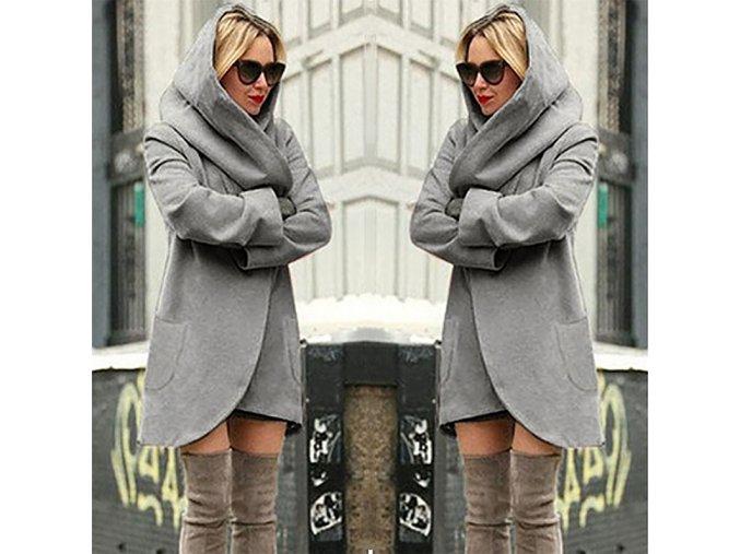 Hřejivý zavinovací kabátek s kapucí