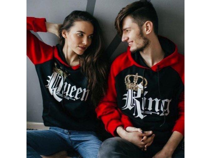 Set King a Queen červenočerných mikin