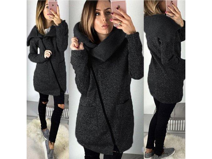 Dámský kabátek se šikmým zipem