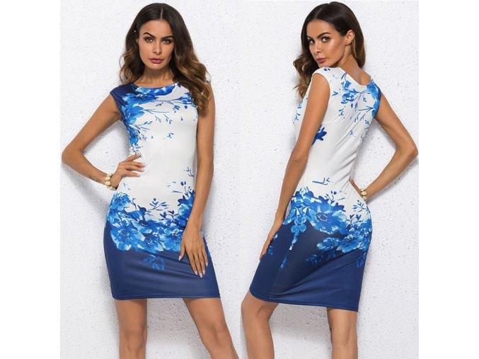 Dámské květované modré šaty