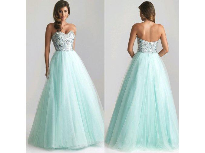 Dlouhé plesové světle modré šaty
