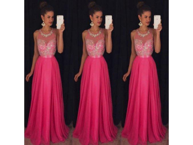 Dlouhé královské plesové šaty - růžové