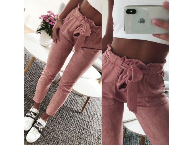Dámské semišové kalhoty s mašlí