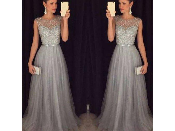 Dlouhé královské plesové šaty - šedé