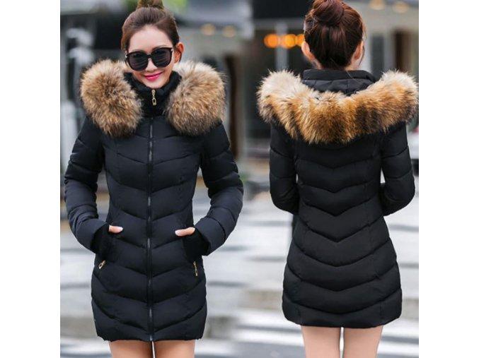 Dámská zimní dlouhá bunda / kabát s kožešinou