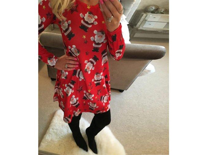 Šaty s Vánočním vzorem