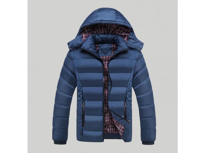 Pánská modrá zimní bunda s kapucí