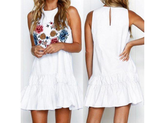 Bílé šaty s květinami