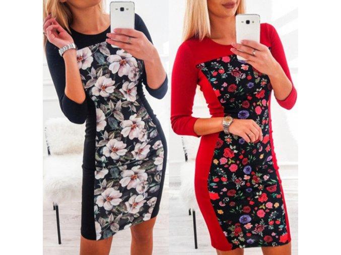Pružné šaty s květy - více barev