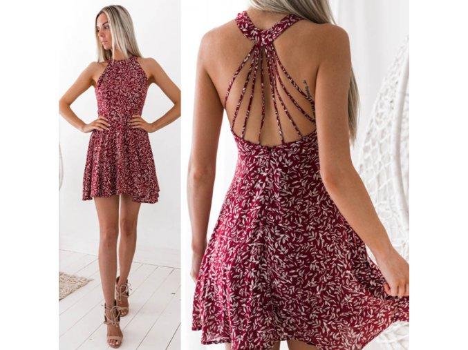 Vzorované halterneck šaty
