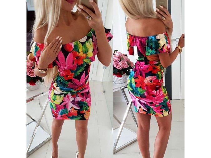 Sexy květované off shoulder šaty