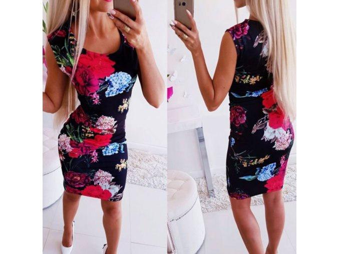 Černé květované šaty na tělo