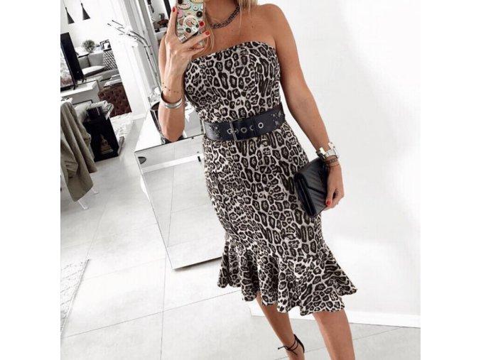 Letní korzetové šaty s leopardím potiskem