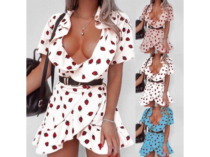 Sexy zavinovací šaty s jahodami