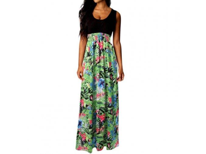 Černé bavlněné maxišaty s květovanou sukní