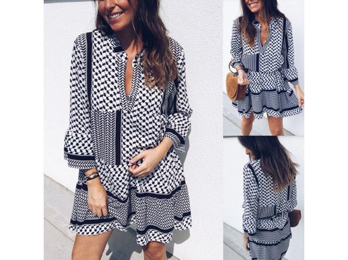 Černobílé vzorované lehké šaty