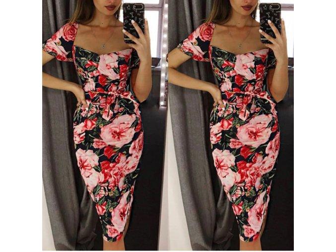Midi pouzdrové šaty s růžemi