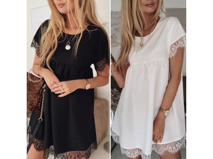 Nabírané letní šaty s krajkou