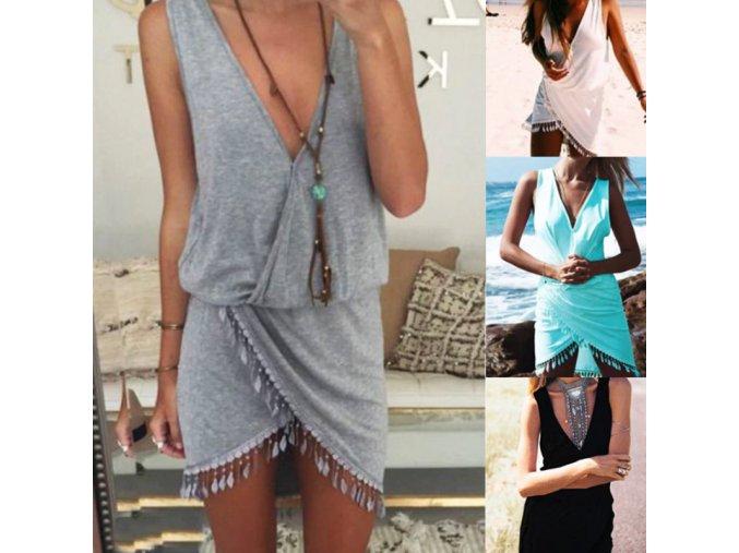 Bavlněné plážové šaty s hlubokým výstřihem