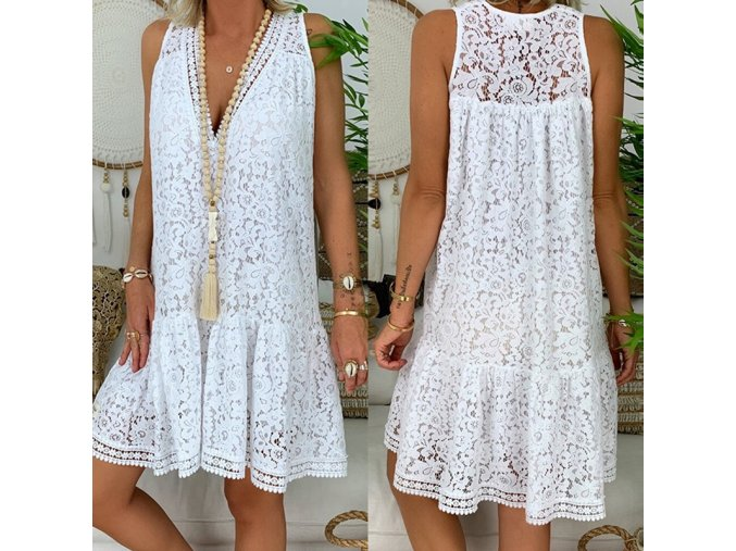 Letní bílé krajkové šaty - až 3XL
