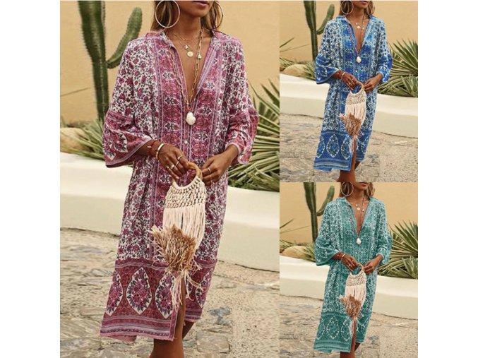 Letní BOHO květované šaty