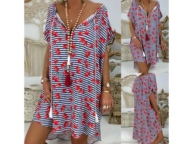Roztomilé plus size šaty s třešněmi - až 5XL