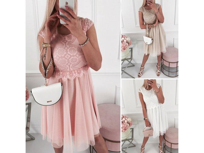Luxusní letní šaty s tutu sukní a krajkou