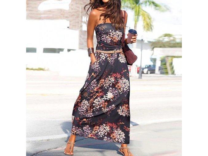 Květované letní bandeau šaty