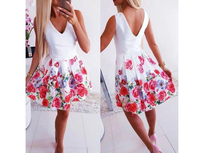 Letní šaty s růžemi a výstřihem do V