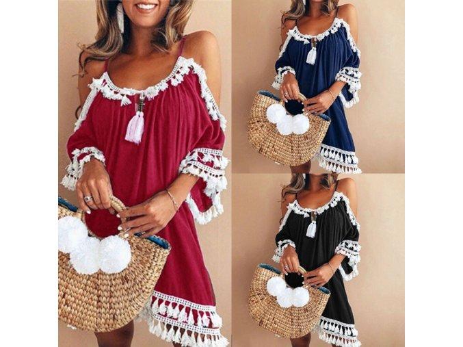 Letní plážové šaty s třapci