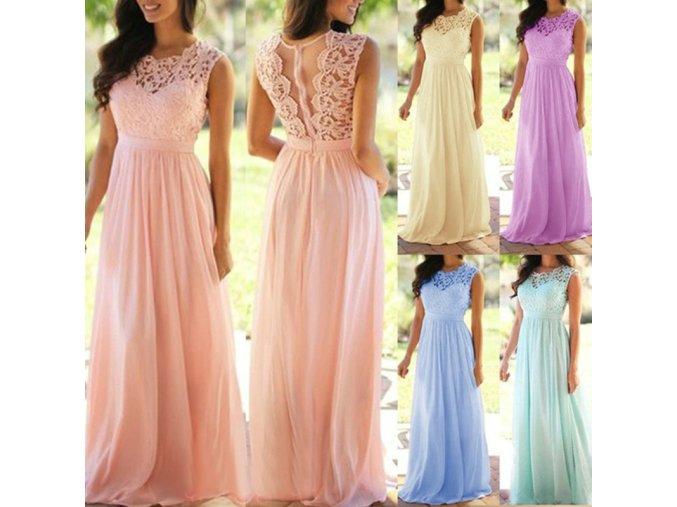 Dámské plesové šaty s krajkovým dekoltem - až 4XL