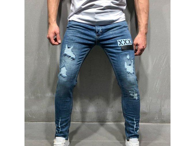 Pánské stylové trhané džíny XXX