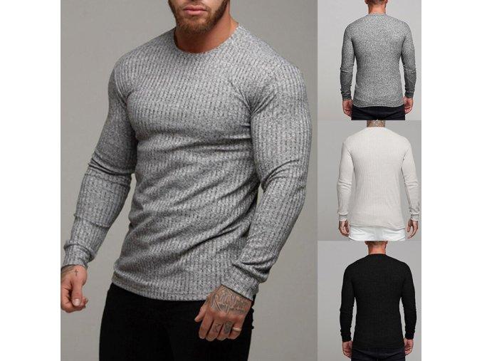 Pánský lehký žebrovaný svetr