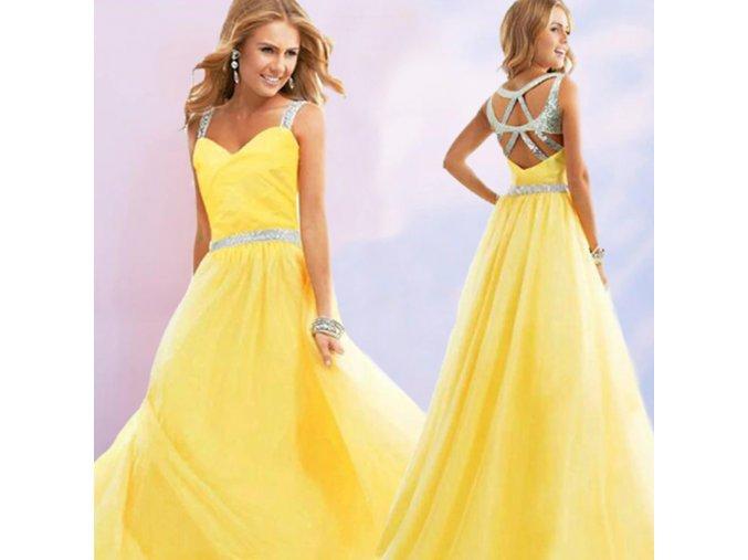 Kanárkově žluté plesové taneční šaty