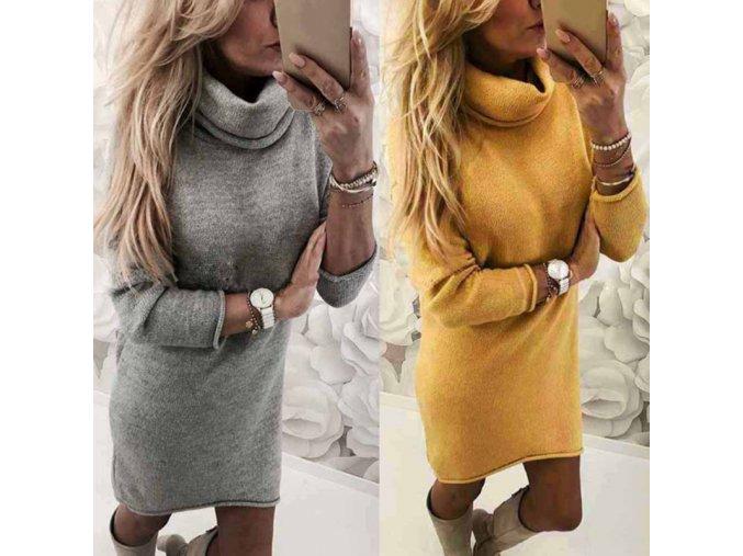 Dámské podzimní hřejivé šaty s rolákem - stylové barvy šedá + žlutá