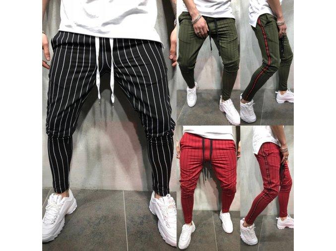 Pánské stylové pruhované kalhoty