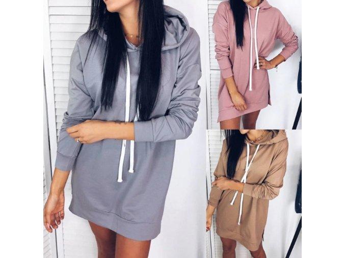 Dámské mikinové šaty s kapucí