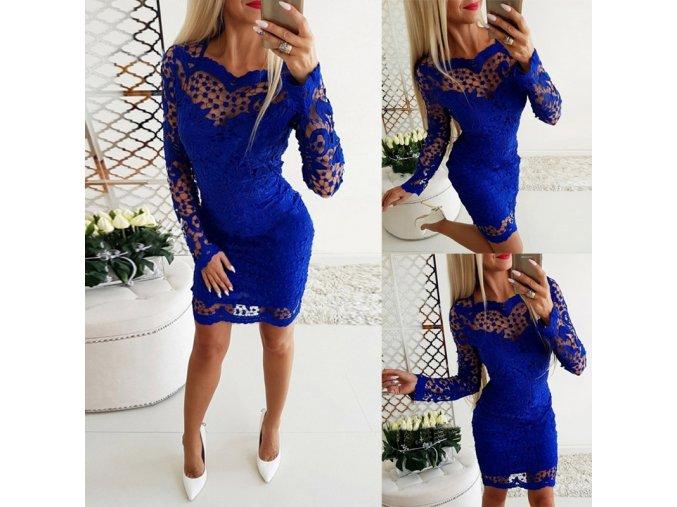 Královsky modré společenské krajkované šaty