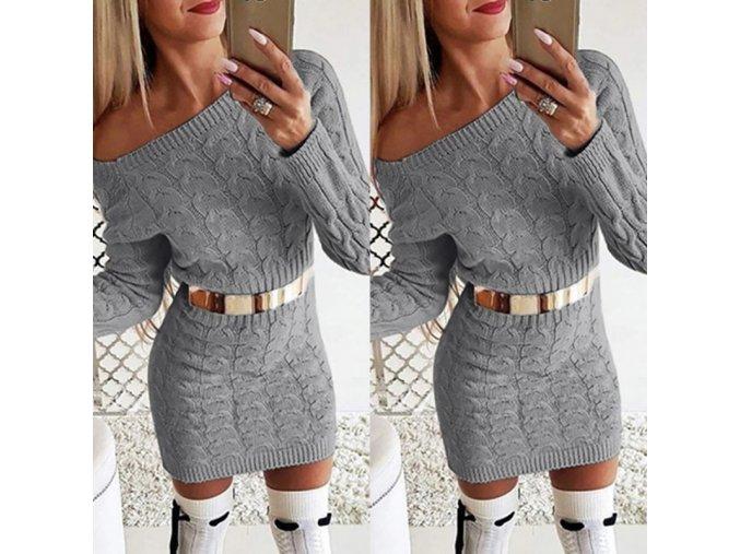Podzimní teplé pletené šaty