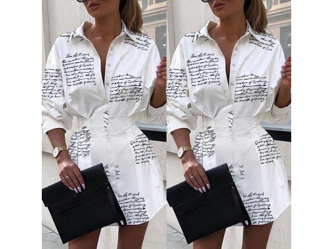 Stylové HOT košilové šaty s nápisy