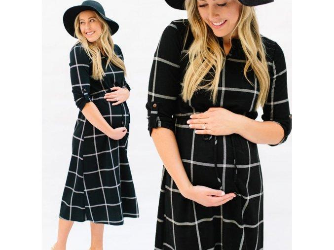 Stylové těhotenské košilové šaty