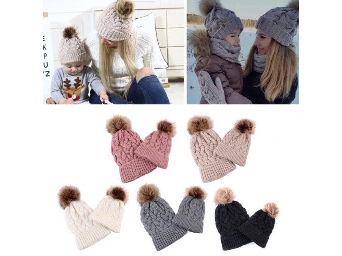 Zimní pletené čepice s bambulí - set pro maminku a miminko