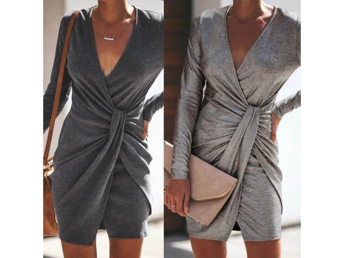 Podzimní metalické šaty s uzlem