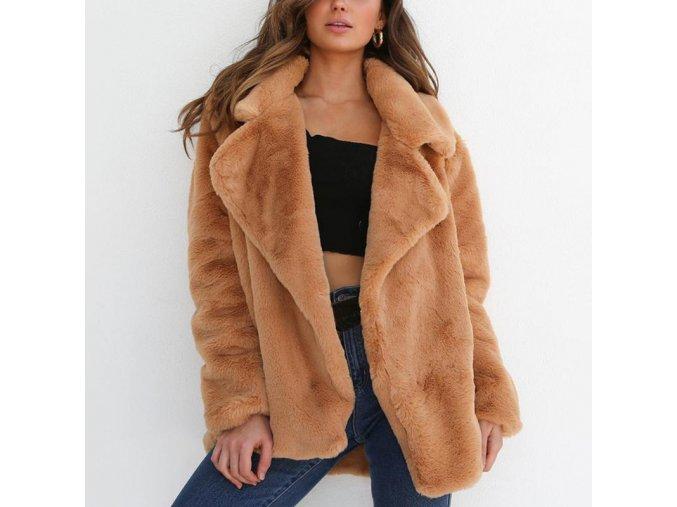 Dámský podzimní kabátek z umělé kožešiny - až 3XL