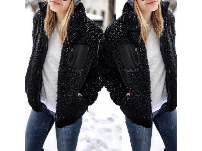 Zimní chlupatá bundička s kapsami