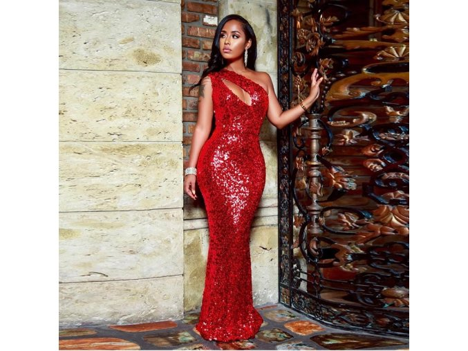 Dámské červené plesové třpytivé šaty
