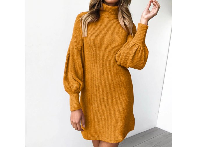 Dámské žebrované šaty s rolákem - 3 stylové barvy