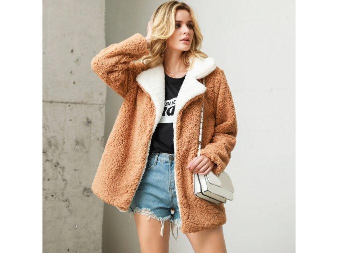Stylový podzimní dvoubarevný kabátek