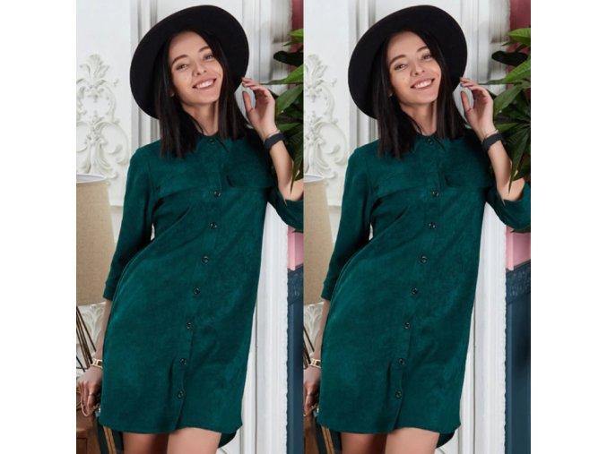 Podzimní košilové šaty z imitace broušené kůže