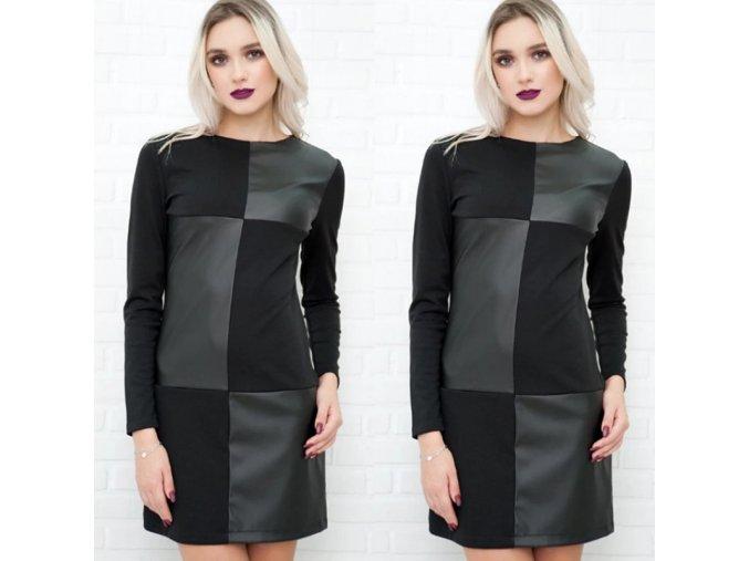 Podzimní černé šaty s dlouhým rukávem